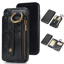 Leather Wallet Flip Card Stand Case For Iphone X 8 7 6 6S Plus 5 5S SE Samsung S8 S7 S6 Litchi Pattern Detachable Dual Use Cover(China)