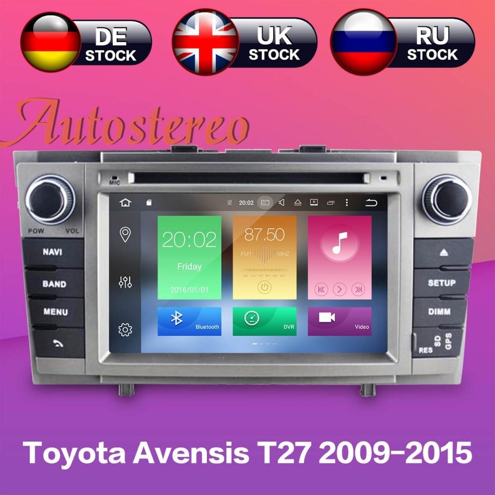 Android 8.1 Lecteur DVD de Voiture Autoradio pour Toyota Avensis T27 2009-2015 GPS de Navigation multimédia headunit radio magnétophone IPS