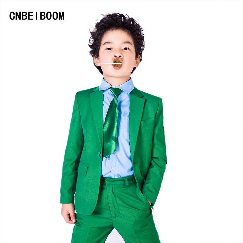ФОТО Children Suit Blazer Wedding Party Clothing Sets Formal Coat+Vest+ Pant 3Pcs Suits For Kids Green Fashion Single Tuxedo Clothes