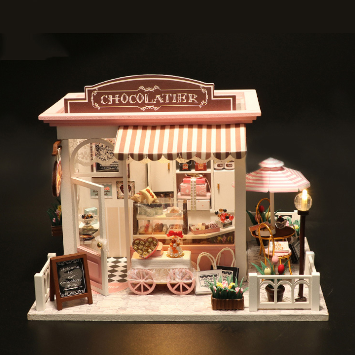 Ins 3d Diy Miniature Doll House Assemble Kits Toy Handmade Wood With Furnitures Led Chocolate Food Store Dollhouse Toys Gifts