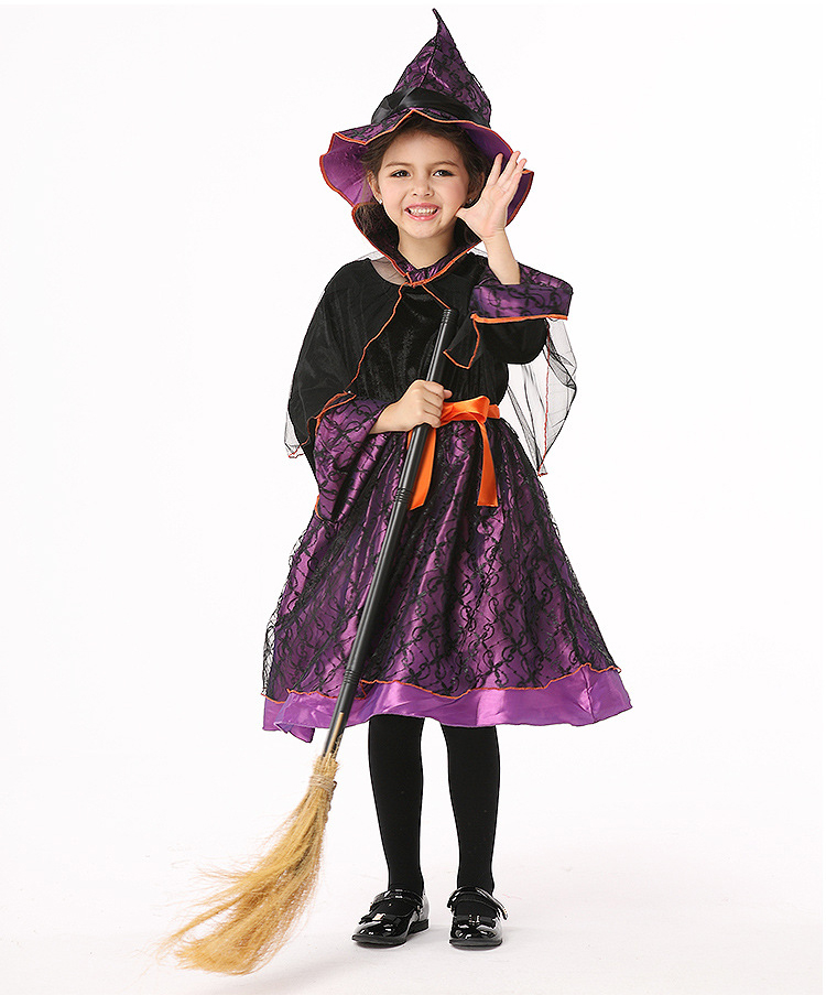 Y03-X052 Children kid's Cosplay girl Princess Dress Halloween Party Costume Clothes anime performance Witch long sleeve purple cosplay party cat fox long fur ears neko costume hair clip halloween orecchiette y103