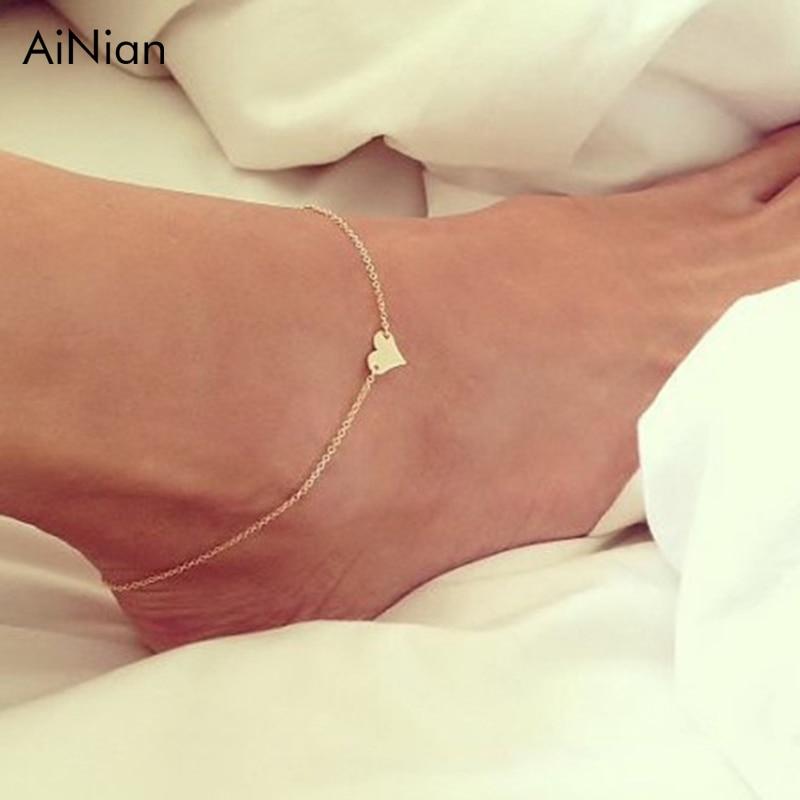 AiNian Heart Female Anklets Barefoot Crochet Sandals Foot Jewelry Leg New Anklets on Foot Ankle Bracelets for Women Leg Chain
