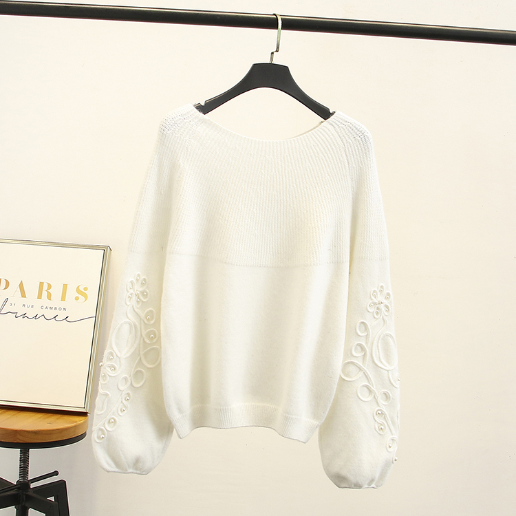 2018 New Autumn Winter Women Fashion Sweaters Beading Embroidered Flower Cashmere Long Sleeve Plus Size Clothes Womens Sweaters