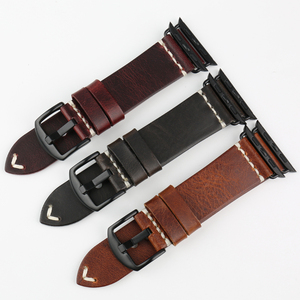 Image 5 - MAIKES Vintage Oil Wax Leather Strap For Apple Watch Band 42mm 38mm / 44mm 40mm Series 4/3/2/1 iWatch Black Bracelet Watchband