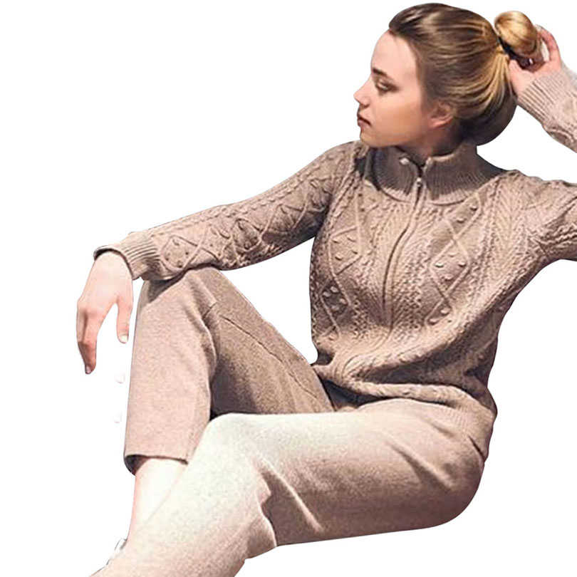 MVGIRLRU soft Women's wool Sets female thick warm Knitted suit twisted knit zipper cardigan pant 2 piece outfits Tracksuit woman