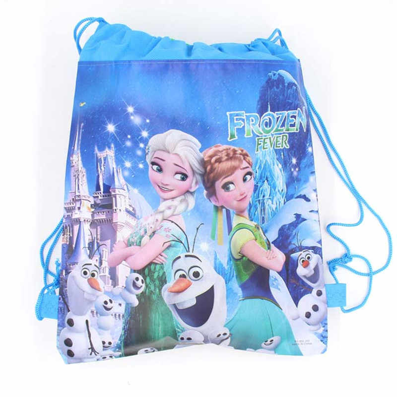1pcs Freezing Anna Elsa Snow Queen Non-woven Fabrics Drawstring Backpack School bag Shopping Bag