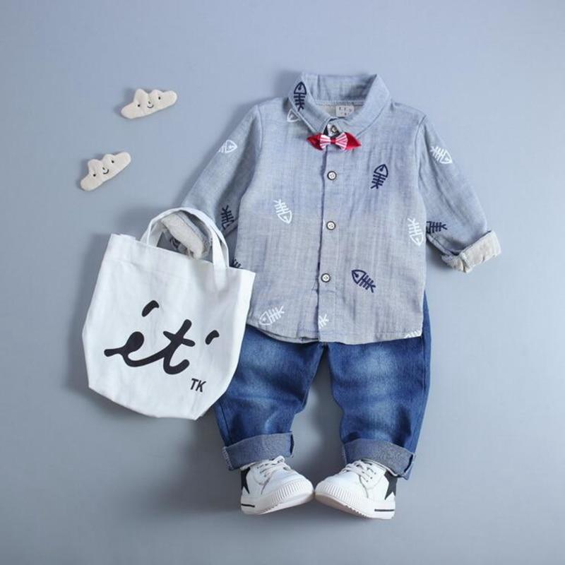 New arrival autumn baby boy clothes sets 2pcs long sleeve turn-down collar shirt+denim pants infant baby boys suits