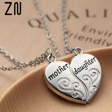ZN Popular Mother and Daughter Heart necklace women Love Mom Necklace Mothers Day Gifts For