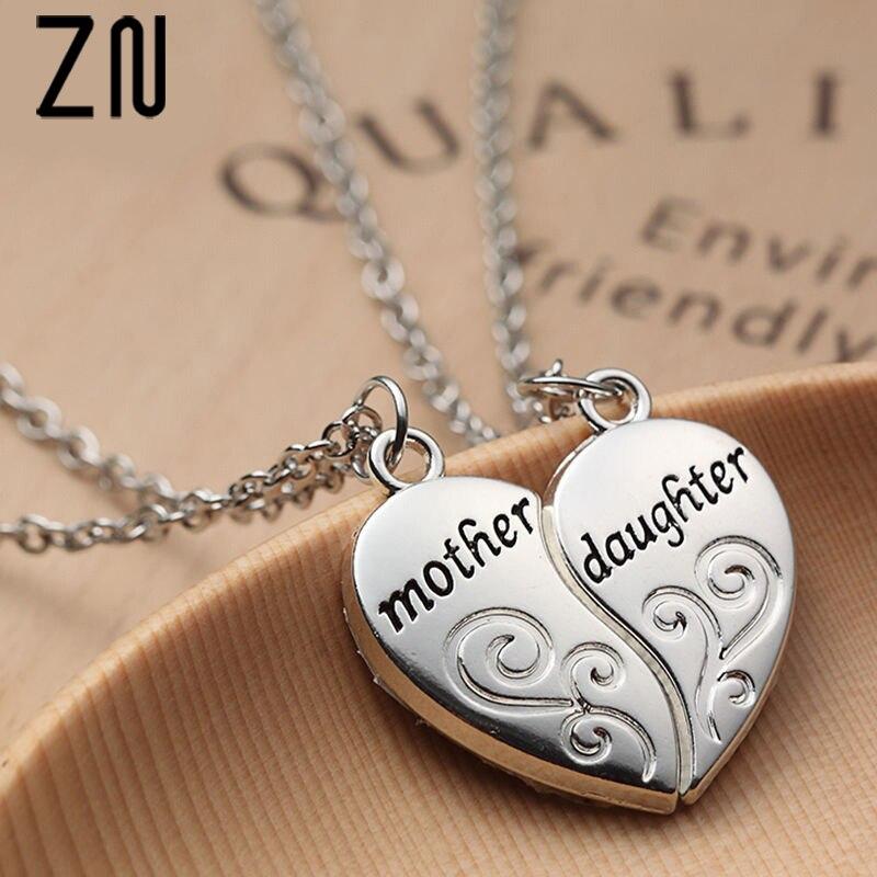 Excelente calidad diseño popular diferentemente € 0.66 20% de DESCUENTO|ZN Popular madre e hija corazón collar mujeres amor