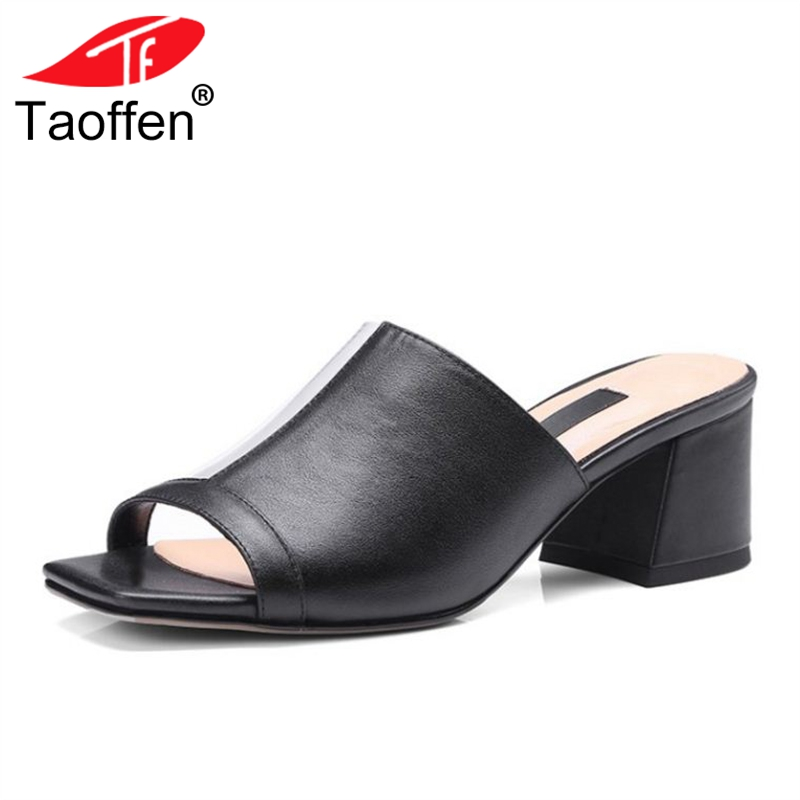 TAOFFEN Concise Women Real Leather High Heel Sandals Open Toe Patchwork Slippers Summer Club Shoes Women Footwear Size 34-39 taoffen women high heels sandals real leather peep toe shoes women buckle clear thick heel sandals daily footwear size 34 39