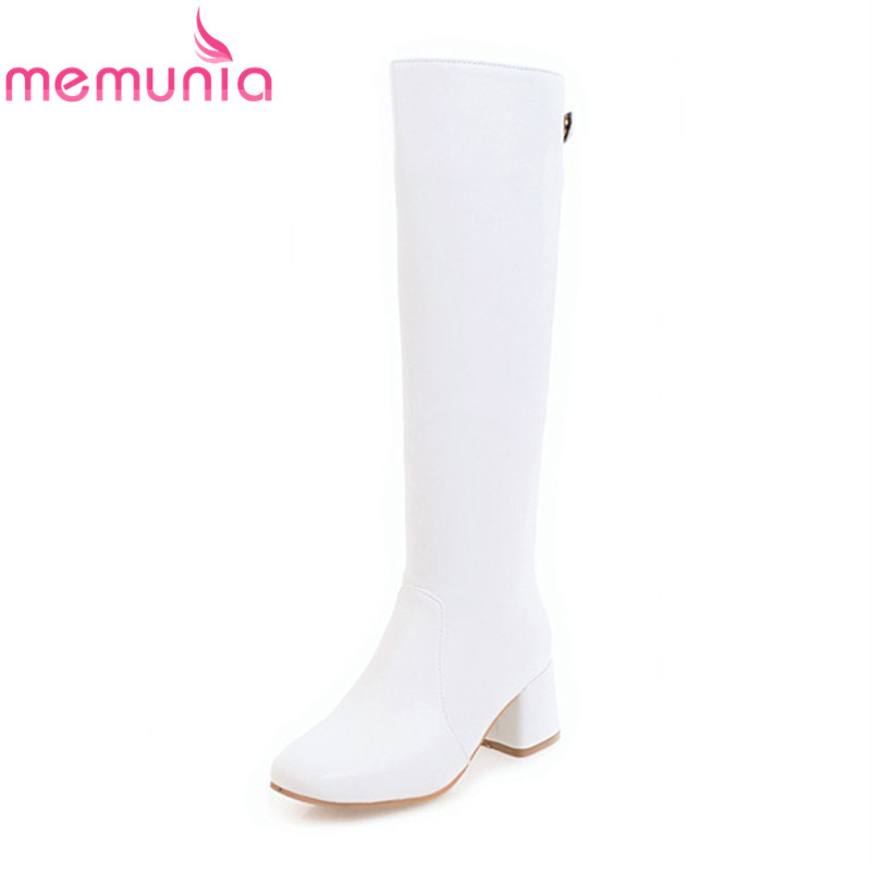 MEMUNIA 2018 new arrival long boots white black square toe pu leather boots solid zip square heels knee high boots womensMEMUNIA 2018 new arrival long boots white black square toe pu leather boots solid zip square heels knee high boots womens