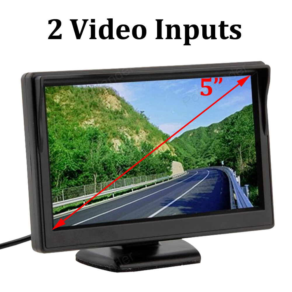5 Inch TFT LCD Screen Parking Car Monitor Rear View Monitor 2 Video Inputs Support VCD DVD rearview Camera