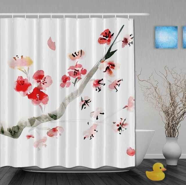 Plum Blossom Flying Around Petals Red White Shower Curtains Waterproof High Quality Home Decrations With Hooks