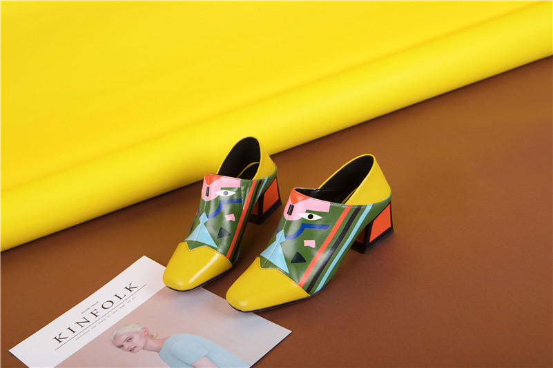 FEDONAS 19 Fashion Prints Women Synthetic Leather High Heels Party Wedding Shoes Woman Square Toe Spring Summer Basic Pumps 16