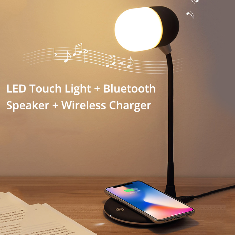 BONOLA LED Touch Desk Lamp Bluetooth Speaker Wireless Charger for iPhone Xs/Xr/8plus Qi Wireless Charger for Samsung S10/S9/S8BONOLA LED Touch Desk Lamp Bluetooth Speaker Wireless Charger for iPhone Xs/Xr/8plus Qi Wireless Charger for Samsung S10/S9/S8