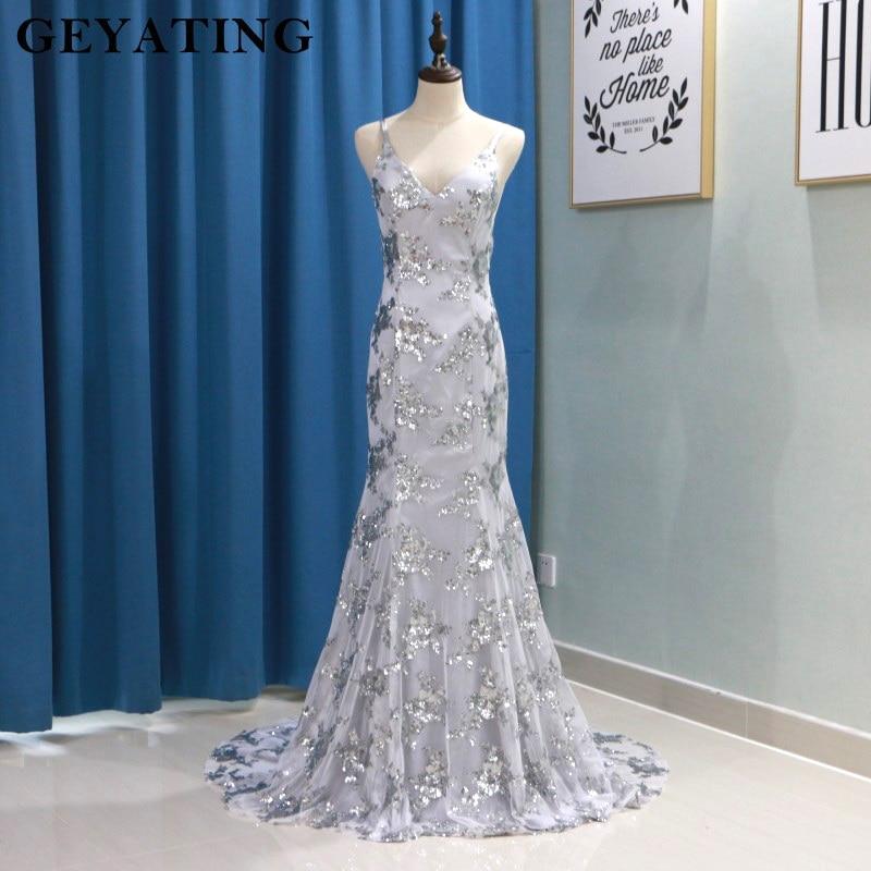 Silver Grey Sequins Mermaid Long Prom Dresses Spaghetti Straps V