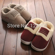 New Arrival Winter Home Thermal Thickening Cotton Padded Slippers Women Men Indoor Floor Warm Slippers Flat