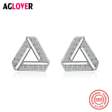 925 Sterling Silver Earrings Simple Geometric Triangle Stud For Women Fashion Jewelry Wholesale