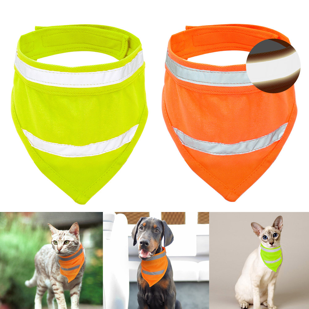 Reflective Dog Bandana Breathable font b Pet b font Scarf Collar Cats Dogs Accessories for Small