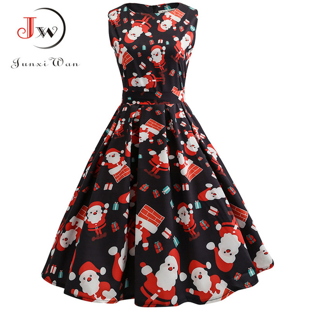 Christmas Dress Women 2018 Floral Print Slim Vintage Dress Casual Sleeveless 3