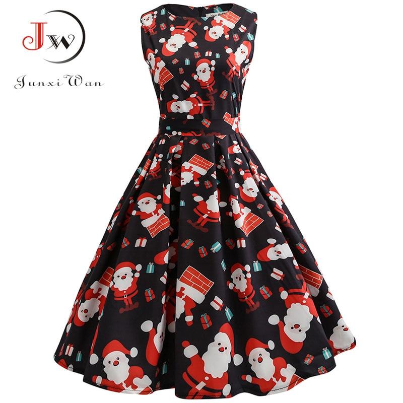 S~3xl Christmas Dress Women Floral Print Slim Vintage Dress Casual Sleeveless Elegant Midi Party Dresses Vestidos Robe #4