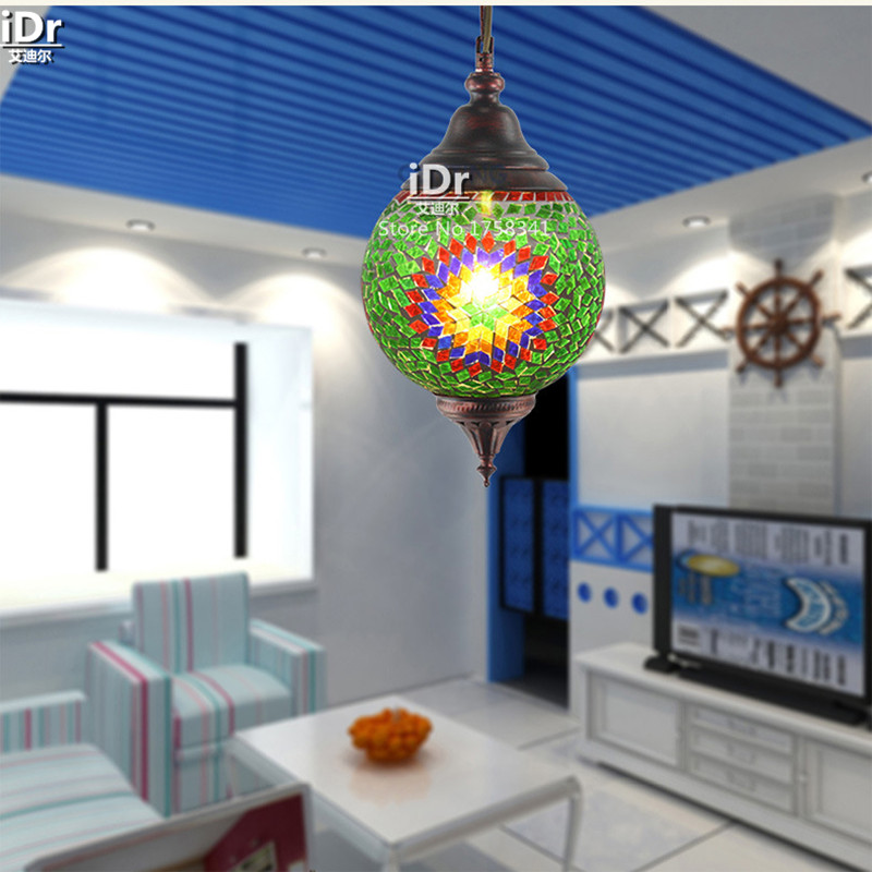 bohemian glass mosaic restaurant aisle single headlight creative living room lamp pendant lights wwy 0319 bohemian lighting