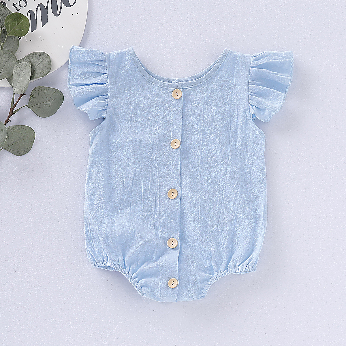 Pudcoco Newborn Baby Girl Clothes Solid Color Fly Sleeve Ruffle Cotton Romper Jumpsuit One-Piece Outfit Sunsuit