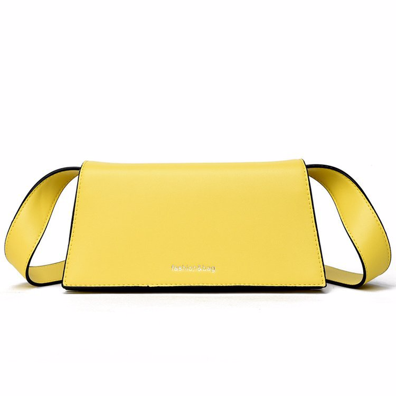 ファッションメッセンジャーバッグ女性2019春の新しいシンプルな黄色のハンドバッグの女の子かわいいショルダーバッグスモールスクエアPUレザークロスボディバッグメッセンジャーバッグ