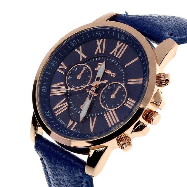 2017 Fashion Roman Numerals Faux Leather Analog Quartz Watch Casual Male Busines