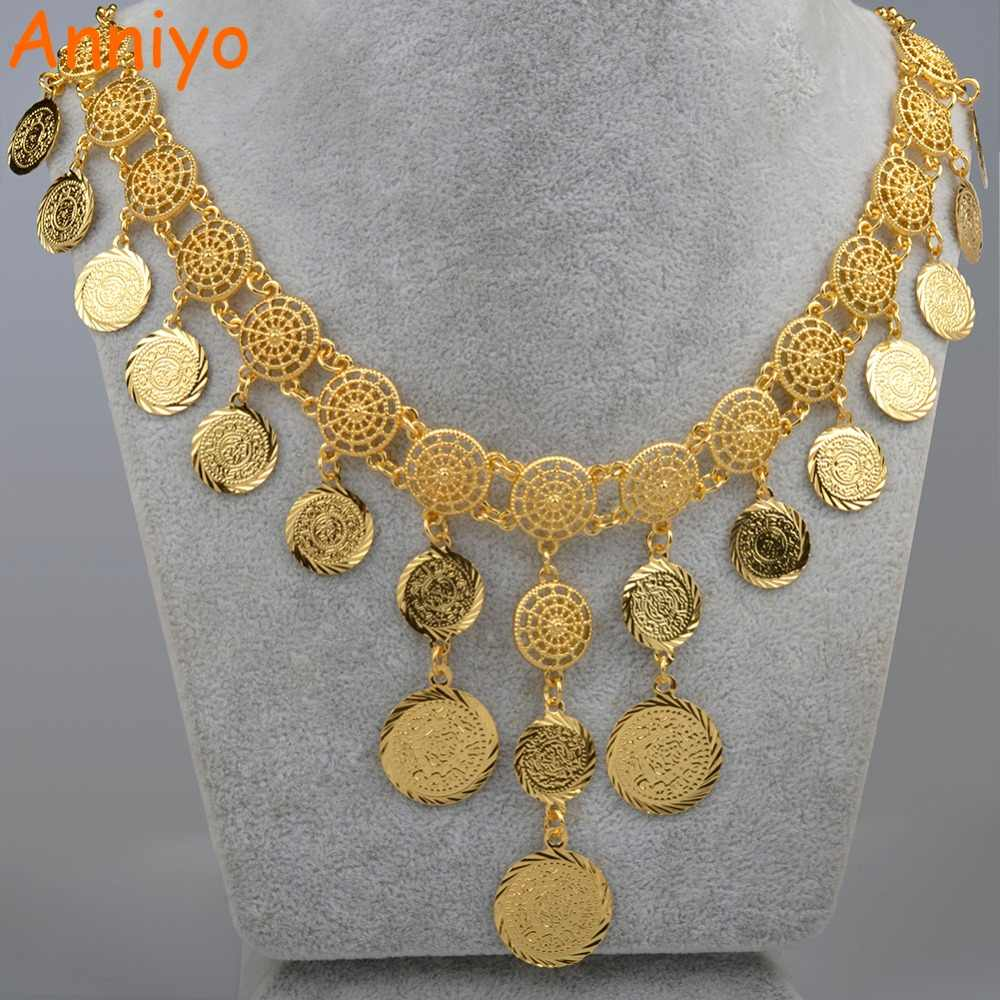 Anniyo 48cm Arab Vintage Coin Gold Color Necklaces for Women Middle Easter Arabian Wedding Gifts #076006