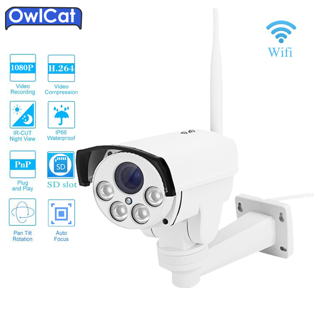OwlCat SONY Wifi IR ONVIF 5X Zoom PTZ IP Camera 1080P 960P Wireless P2P Alarm CCTV Bullet Outdoor Cam With SD Card Slot Max 128G ahwvse yoosee full hd 1080p wifi ip camera onvif p2p email alert wireless wired cctv outdoor camera sd card slot max 64g