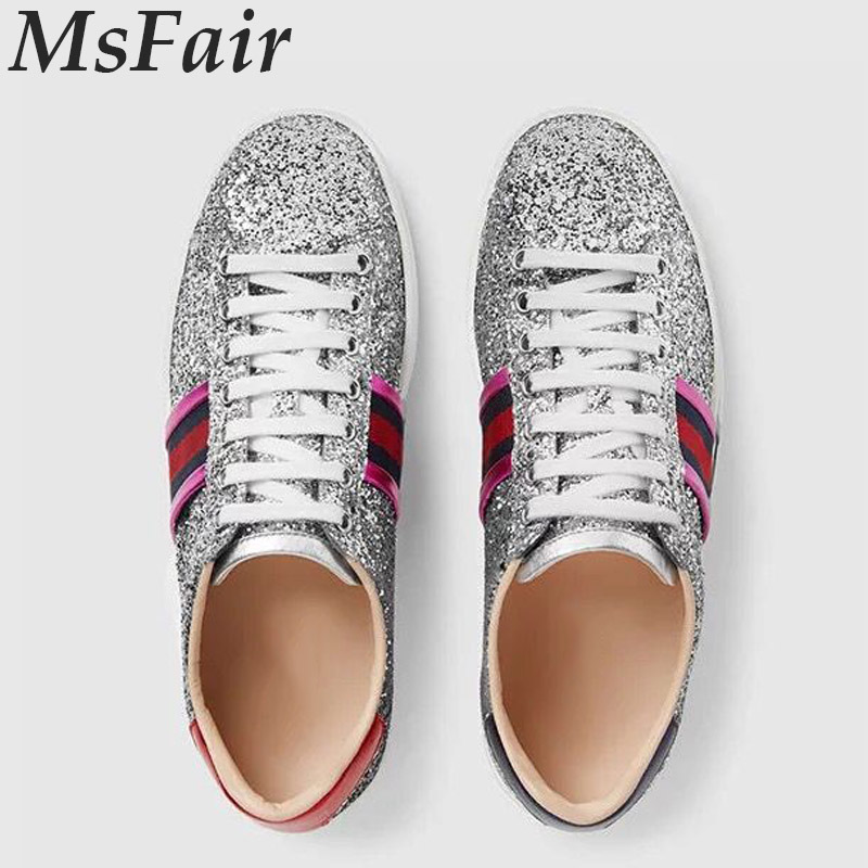 MSFAIR 2018 Women Running Shoes Outdoor Athletic Canvas Sequins Walking Womens Sneakers Flat With Brand Sport Shoes For Women msstor retro women men running shoes man brand summer breathable mesh sport shoes for woman outdoor athletic womens sneakers 46