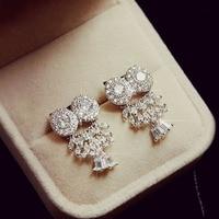 Mode Top Qualité Brillant Zircon Cristal Pavent Hibou Stud Boucles D'oreilles Mignon Doux Blanc Or Couleur Femmes Bijoux
