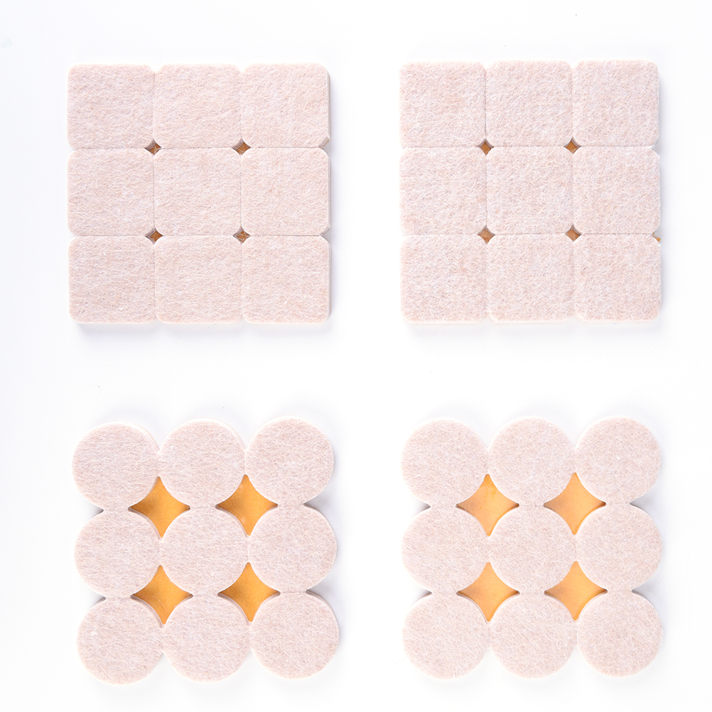 18Pieces DIY Round Self Adhesive Furniture Scratch Protector Rectangle Felt Pads Sets Hard Surfaces Reduces Noise