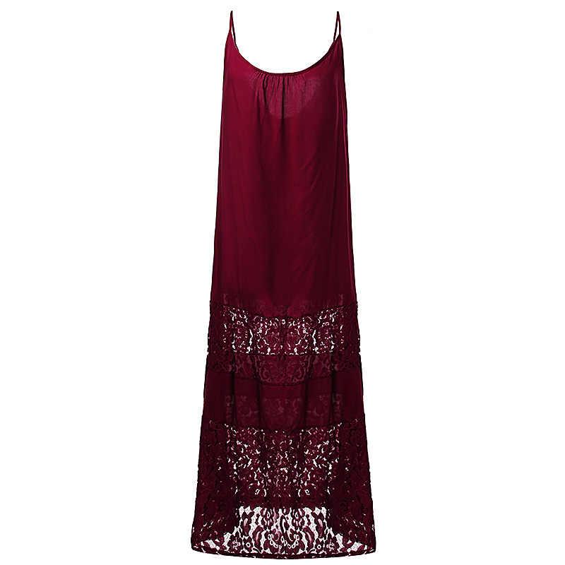 ZANZEA Phụ Nữ Dài Maxi Váy Mùa Hè Kỳ Nghỉ Bãi Biển Sexy Vintage Giản Dị Không Tay O Cổ Ren Áo Thun Áo Spaghetti Dây Đeo Vestidos