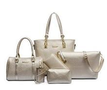 Taohongshi fashion Solid big women leather handbag Quilted 6 sets composite bag messenger shoulder tote Free shipping