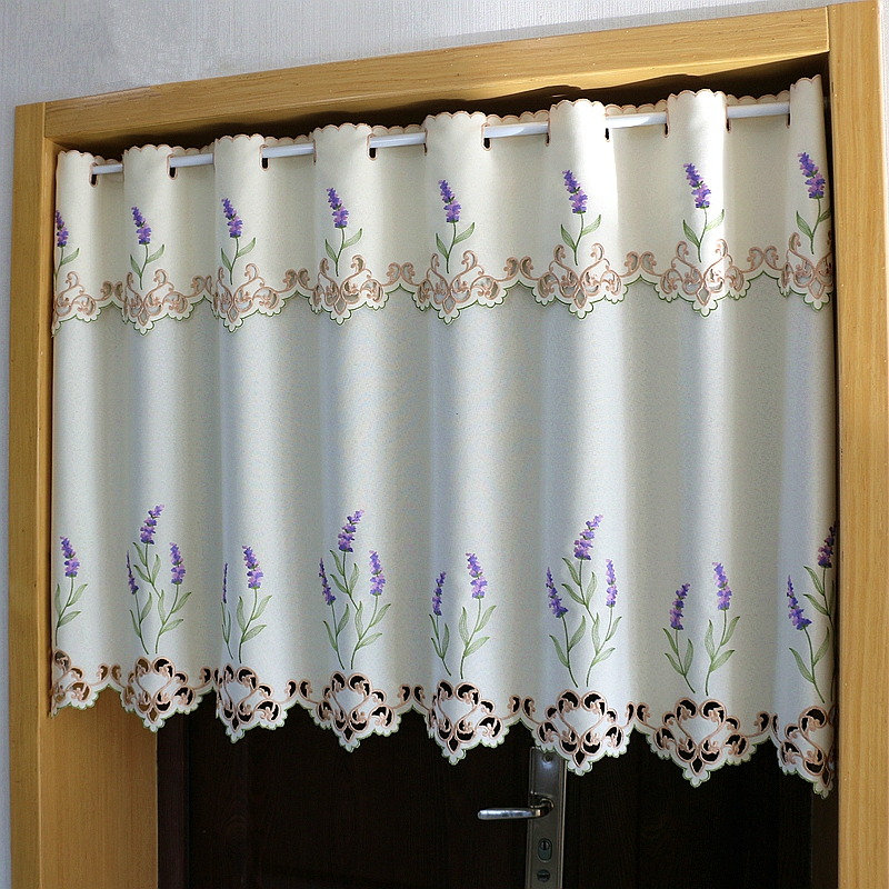 Half curtain Purple Lavender Flower Embroidery Hollow Lace Coffee Curtain Translucent Hem Tulle Curtain for Kitchen Cabinet Door|Curtains| |  - title=