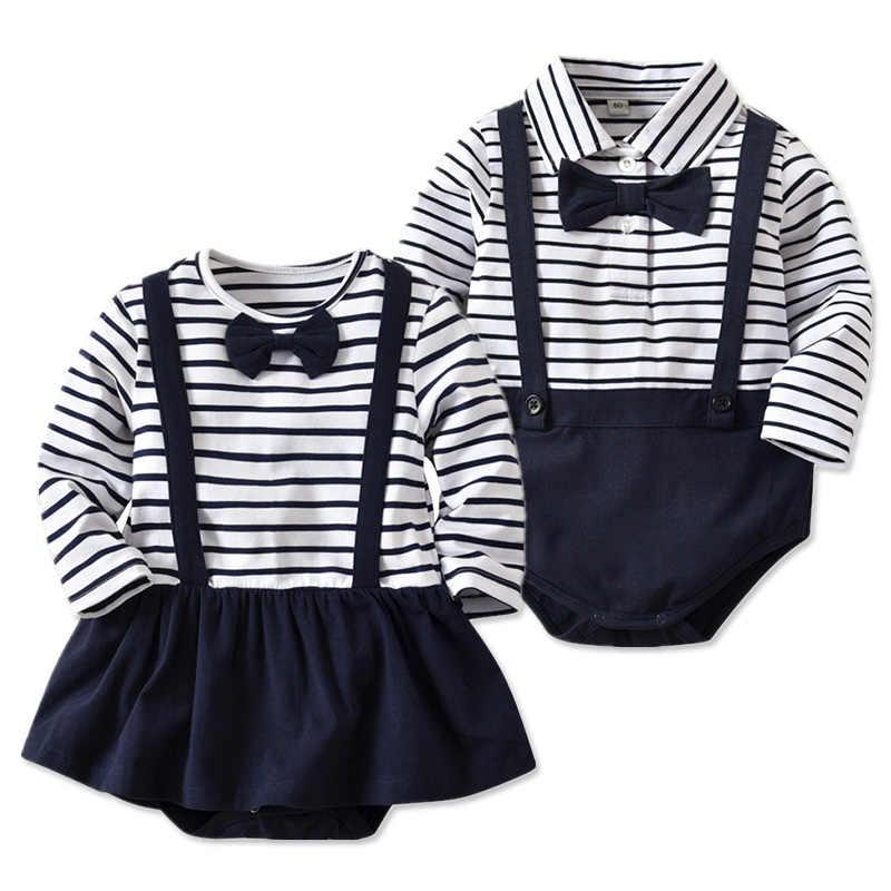 Полосатые комбинезоны для маленьких девочек; Весенняя хлопковая одежда-пачка; детские комбинезоны с длинными рукавами и бантом; комбинезоны для новорожденных; одежда для маленьких мальчиков