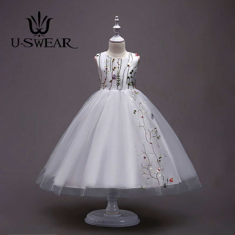 U-SWEAR 2019 New Arrival Kid   Flower     Girl     Dresses   O-neck Sleeveless Flora Embroidery Bow Back Ball Gown Chiffon Vestidos