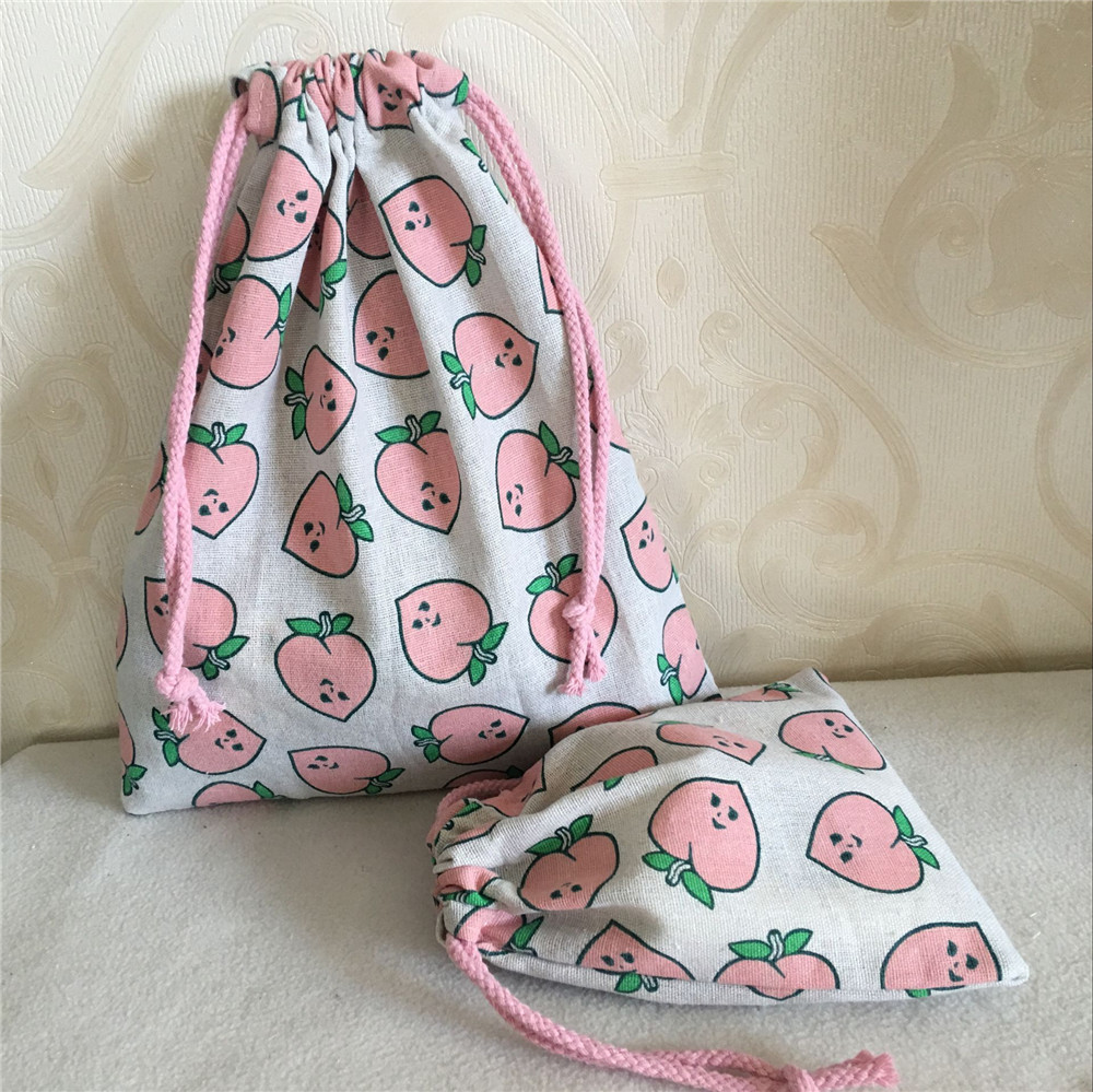 YILE Cotton Linen Drawstring Multi-purpose Organized Bag Party Gift Bag Pink Peach 8626 C