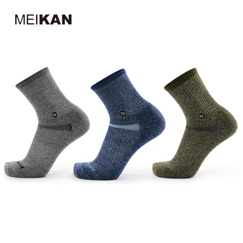 MK5108 High Quality Men Merino Wool Outdoor Hiking Socks Quick-drying Thicken Terry Warm Sports Socks for Climbing Skiing