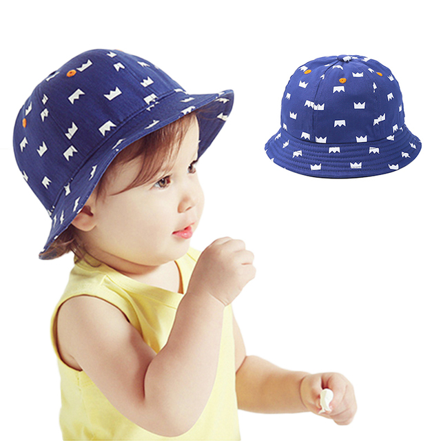 41e2b0cbdc6 Crown Print Baby Hat For Girls Panama Cowboy Sun Hats Boys Bucket Hat  Spring Autumn Infant Beanies Caps Baby Boys Clothing 2018