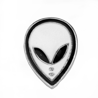 Dropshipping Alien Brooches Pins Black White Enamel Badges Scarf Pins Accessories Brooches For Men Chapas Broches