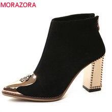 MORAZORA 2020 en kaliteli inek süet deri bayan botları sivri burun fermuar yarım çizmeler kadınlar için moda yüksek topuklu ayakkabı siyah