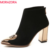 MORAZORA 2020 top quality cow suede leather ladies boots pointed toe zipper ankle boots for women fashion high heels shoes black
