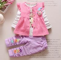 2017 New Chidren Kids Boys Clothing Set Spring T Shirt Vest Pants 3 Piece Set Hooded