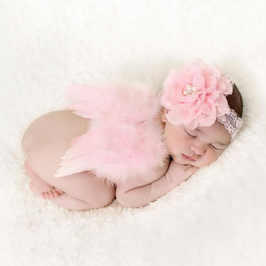 0 12m newborn photography props costume cute angel wings headband photo props infant baby girls boys outfits accessories in hats caps from mother kids