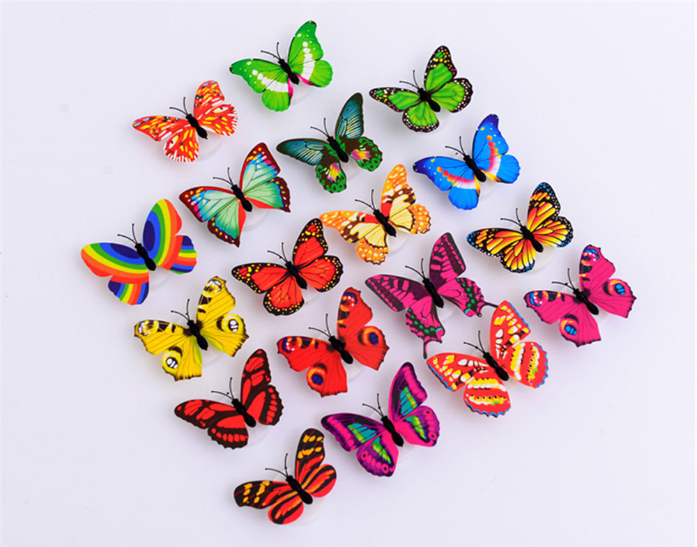 Image 5 - 10 Pcs Wall Stickers Butterfly LED Lights Wall Stickers 3D House Decoration Room Decor vinilos decorativos para paredes New-in Wall Stickers from Home & Garden