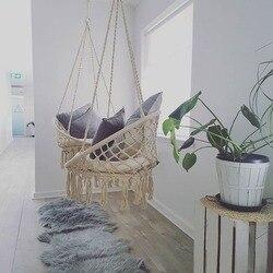 Estilo nórdico hecho a mano de punto redondo hamaca dormitorio interior al aire libre niños columpio cama niños una sola silla hamaca Decoración