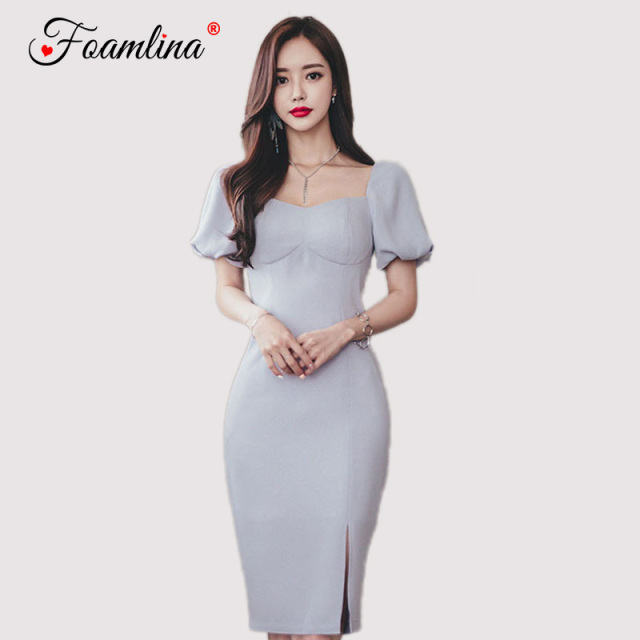 3069b36aaa7b Foamlina 2018 New Summer Dress Korean Style Women Square Neck Short Sleeve  Bodycon Dress Vestidos Ladies